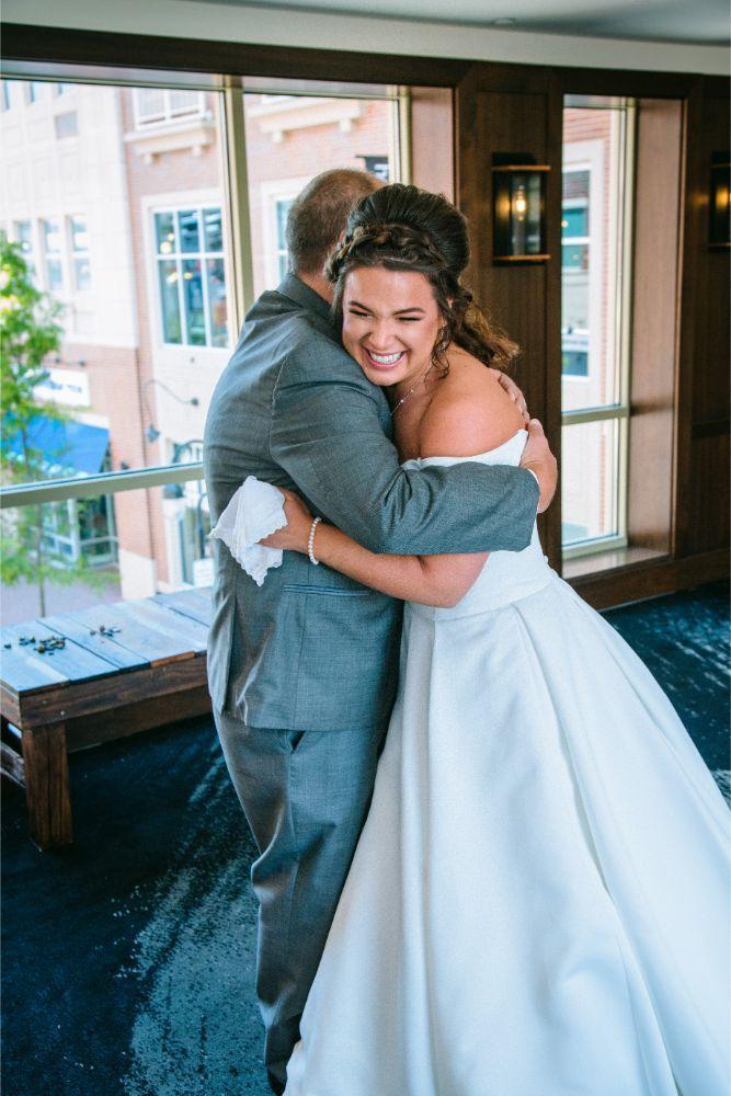 jessica john dinolfos banquets bride first look with dad