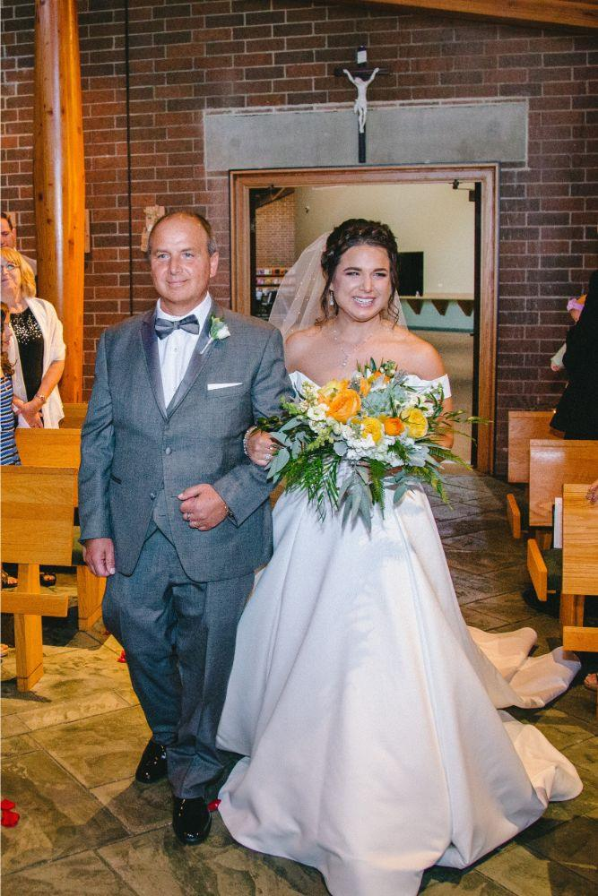 jessica john dinolfos banquets father walking daughter down aisle