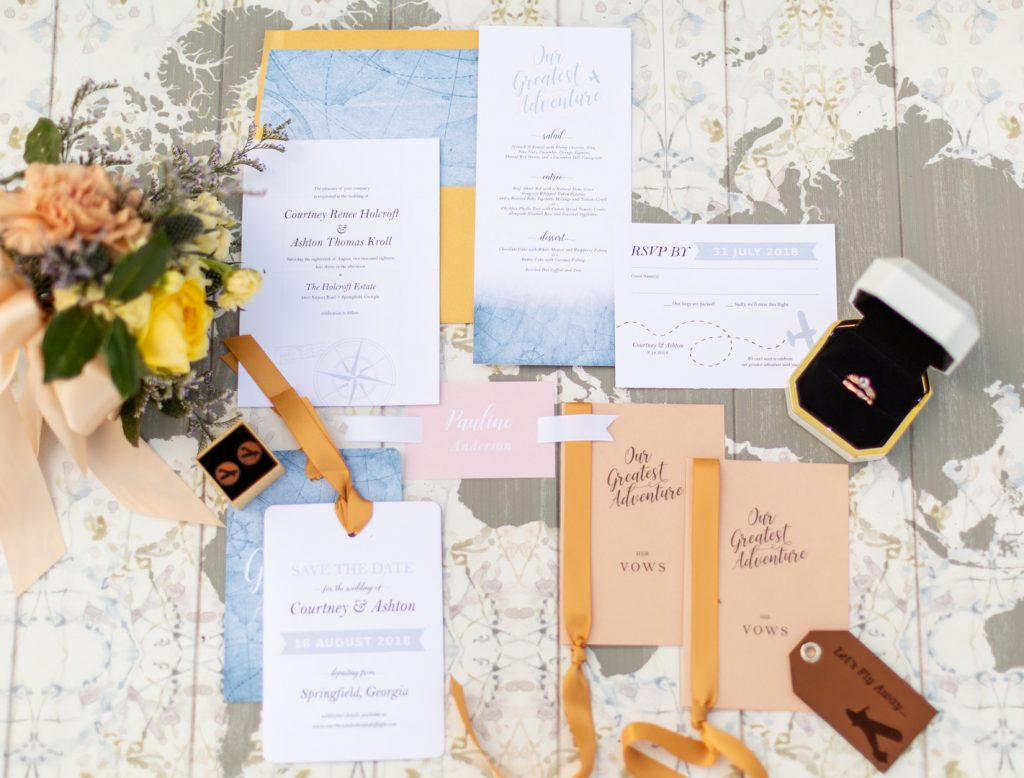 Yellow, Peach & Light Blue Vintage Travel Wedding Inspiration - The  Celebration Society