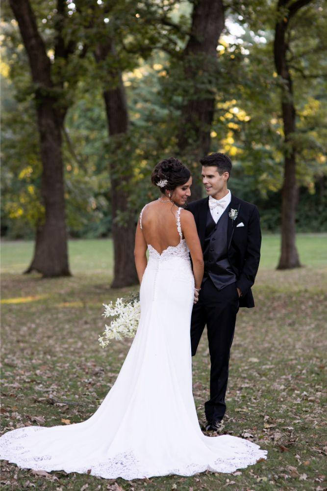 andrea matthew cotillion banquets bride and groom portrait back of bride's dress