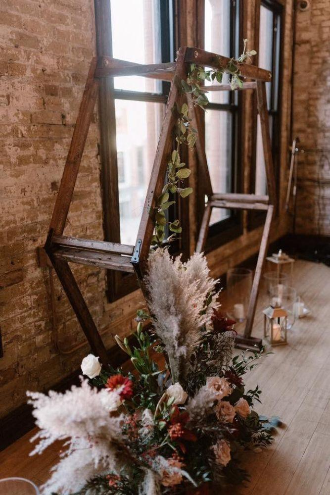 hectagonal floral bohemian wedding arch summer 2019 wedding trends