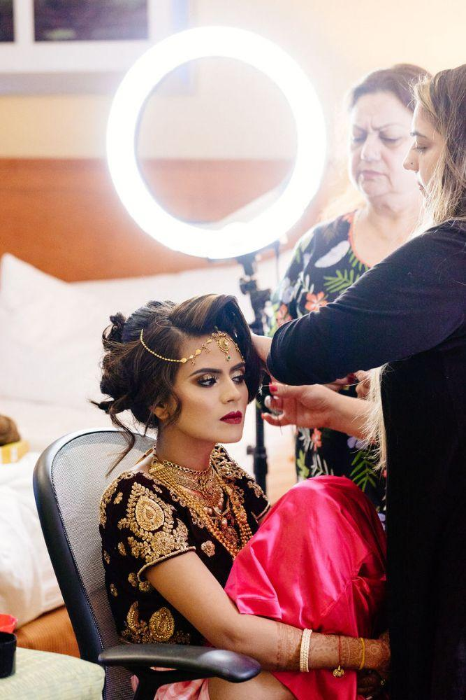 kajal akash pearl banquets & conference center bride getting ready makeup and hair artists chicago