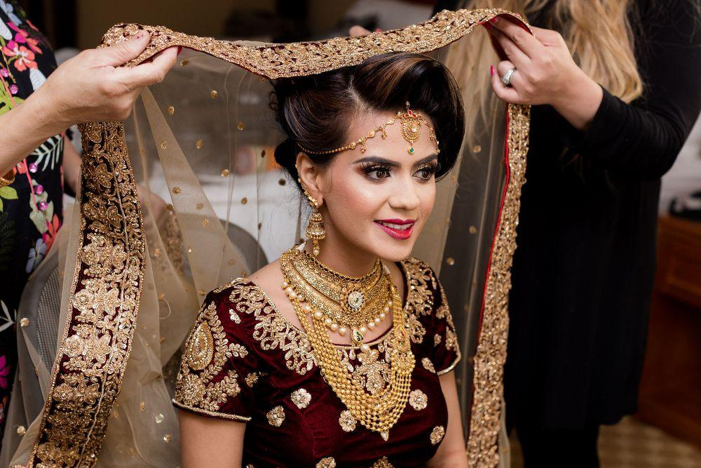 kajal akash pearl banquets & conference center bride getting ready wedding photography