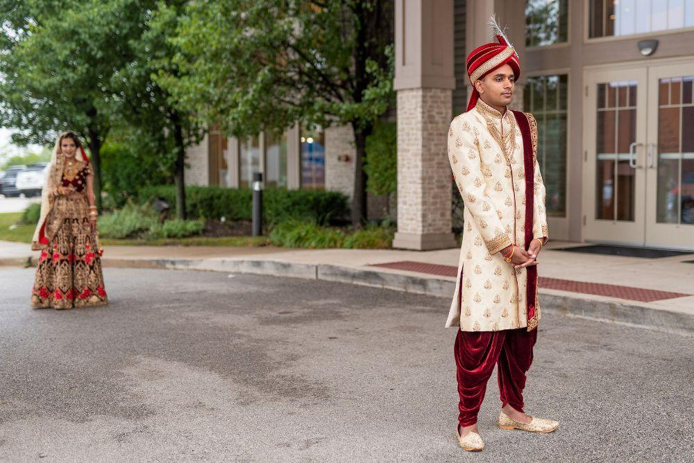kajal akash pearl banquets & conference center first look wedding photography
