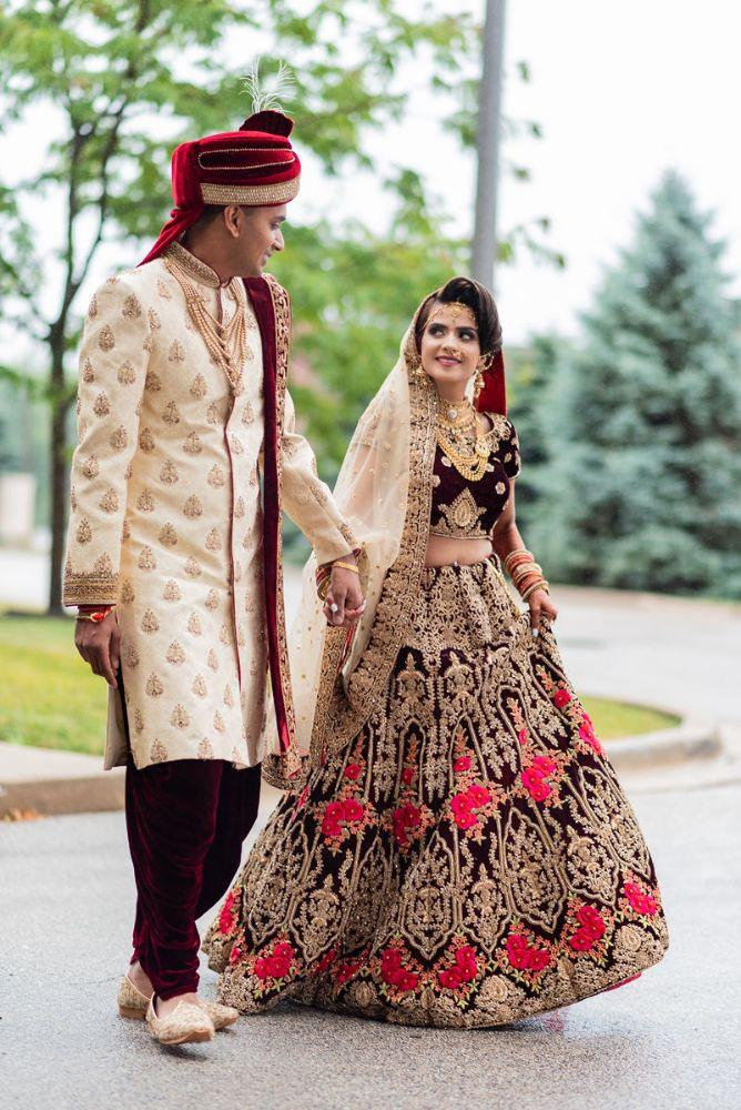 kajal akash pearl banquets & conference center bride groom first look wedding photography