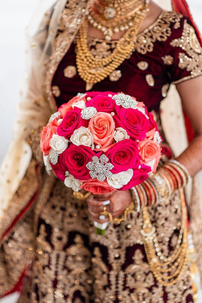 kajal akash pearl banquets & conference center pink and white bridal bouquet