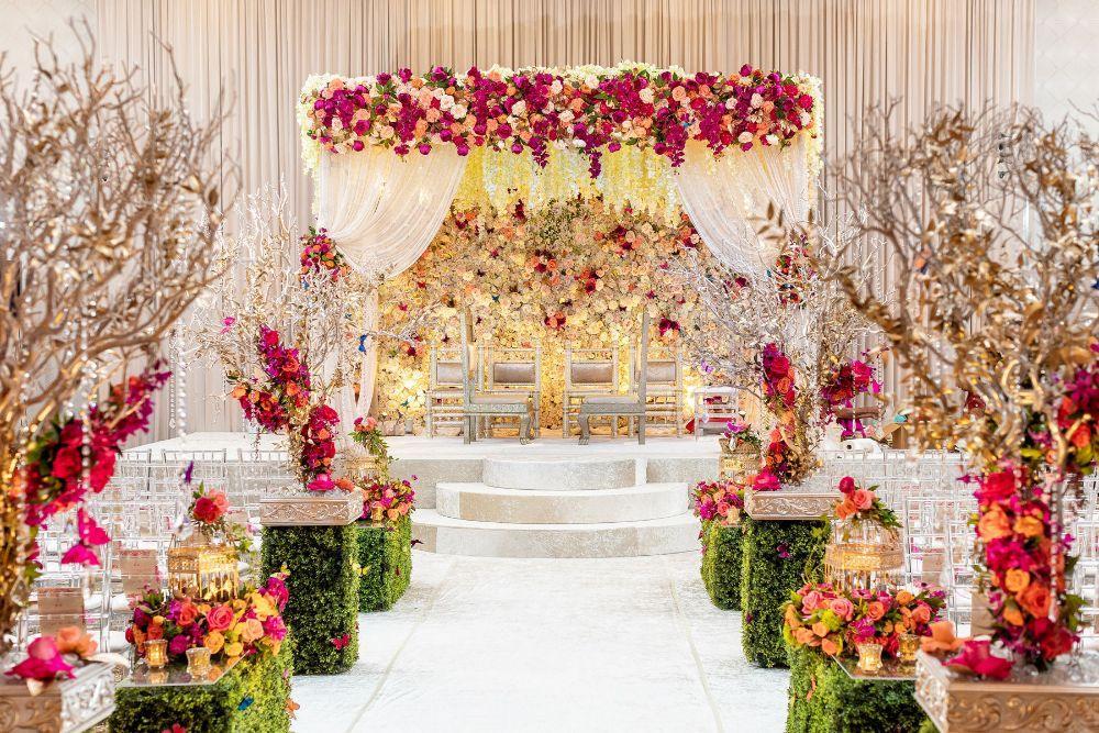 kajal akash pearl banquets & conference center floral wedding mandap