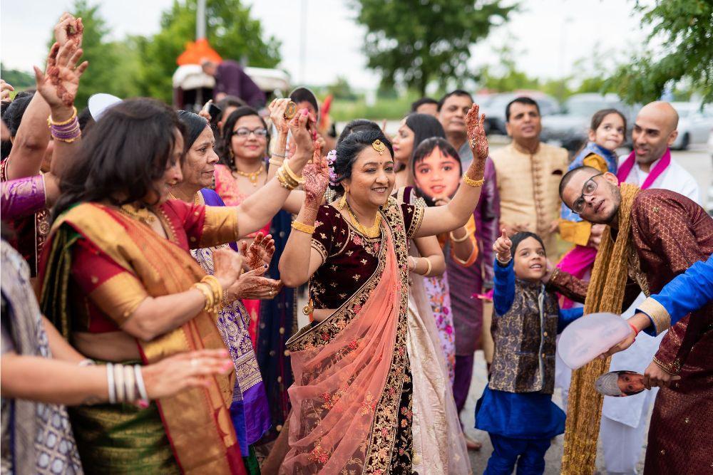 kajal akash pearl banquets & conference center wedding guests dancing and celebrating