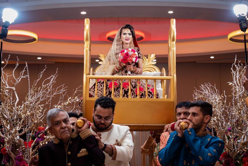 kajal akash pearl banquets & conference center bride arriving to wedding ceremony