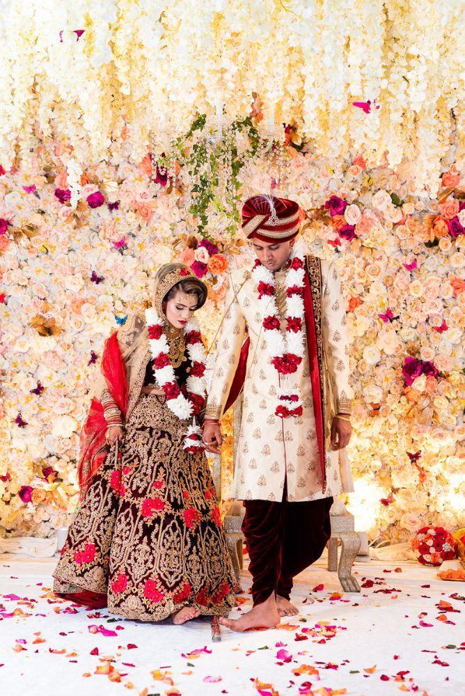kajal akash pearl banquets & conference center bride and groom wedding ceremony