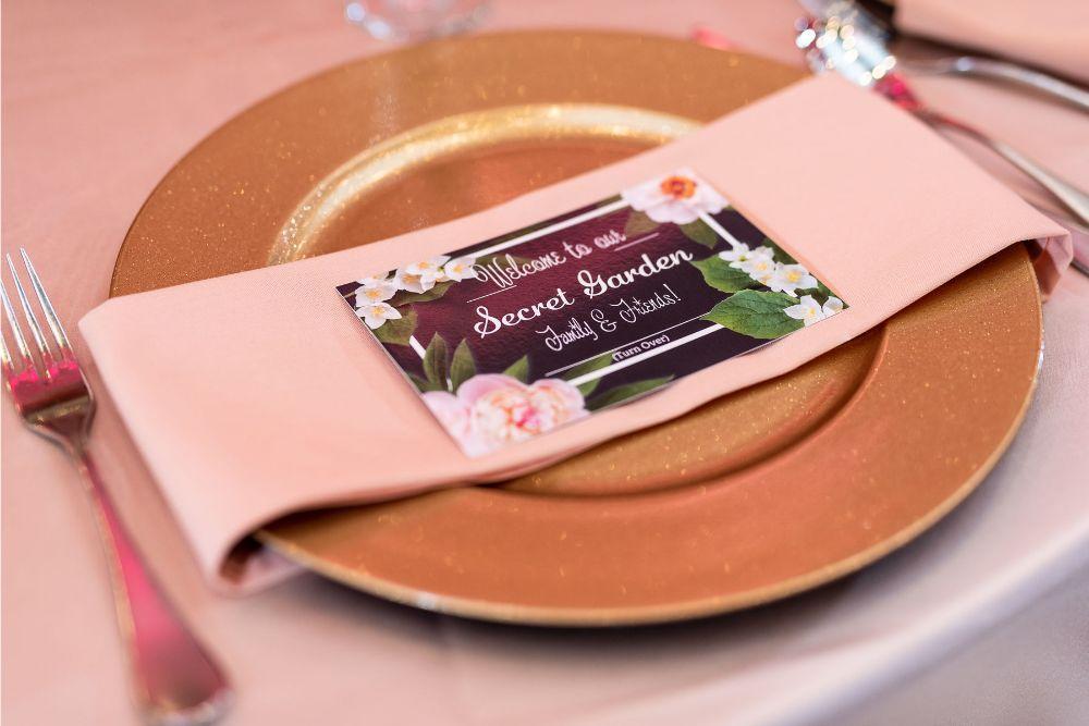 kajal akash pearl banquets & conference center wedding reception decor gold charger secret garden