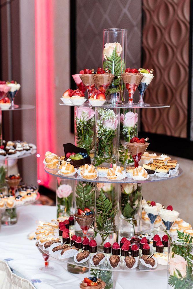 kajal akash pearl banquets & conference center wedding reception dessert tower