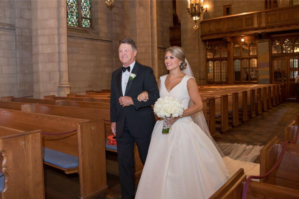 katrina drew the drake chicago wedding father walking bride down the aisle