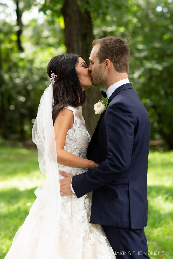 grace nicholas the hyatt lodge oak brook, IL first look bride and groom