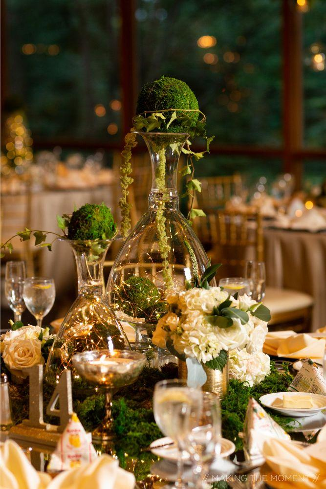 grace nicholas the hyatt lodge oak brook, IL greenery centerpieces wedding reception