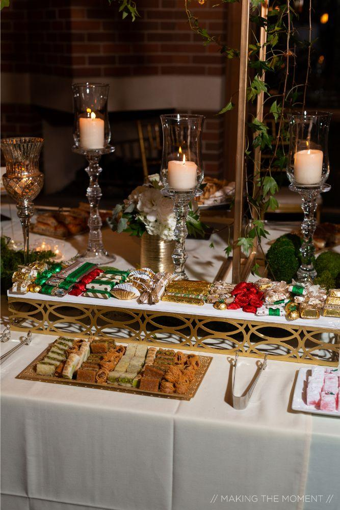 grace nicholas the hyatt lodge oak brook, IL wedding reception sweets table