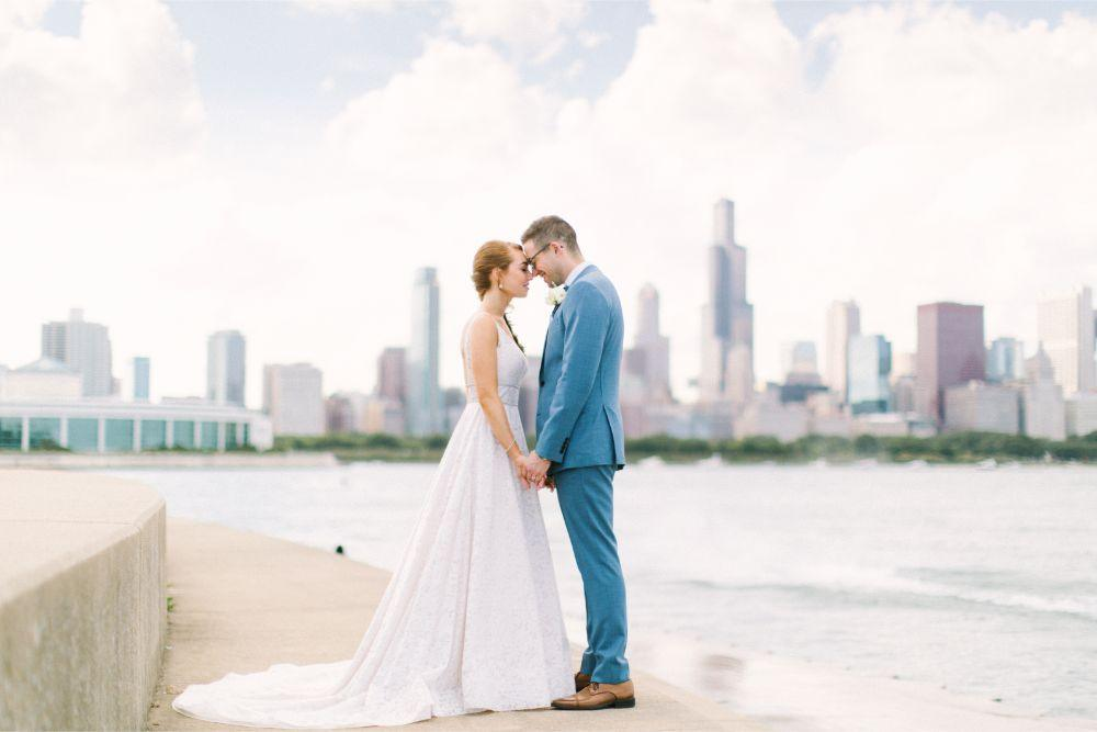 allie matthew the blackstone hotel chicago wedding bride and groom wedding portrait