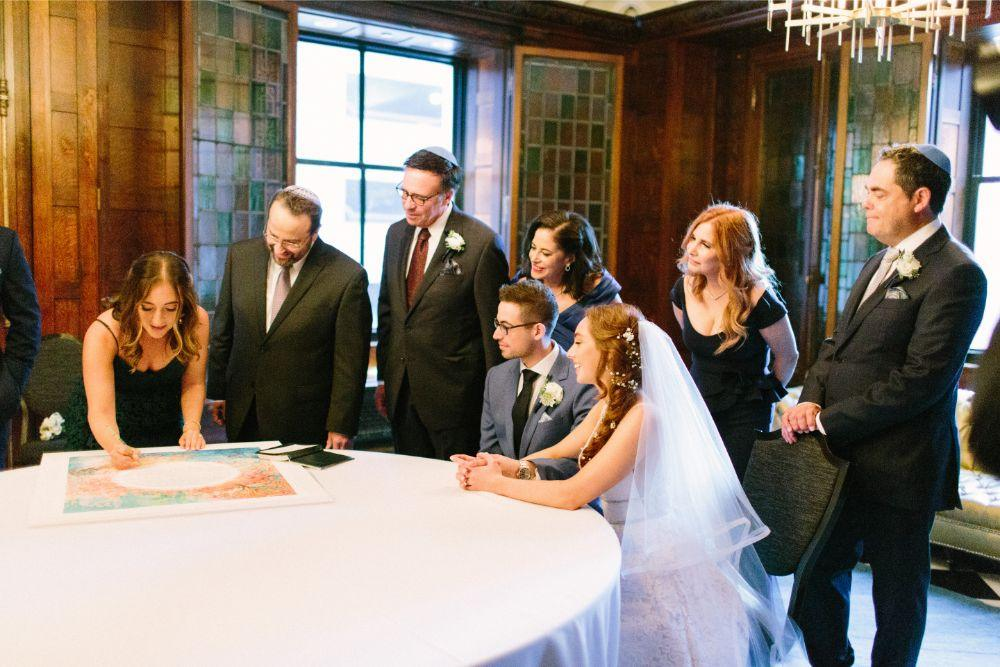 allie matthew the blackstone hotel chicago wedding ketubah signing