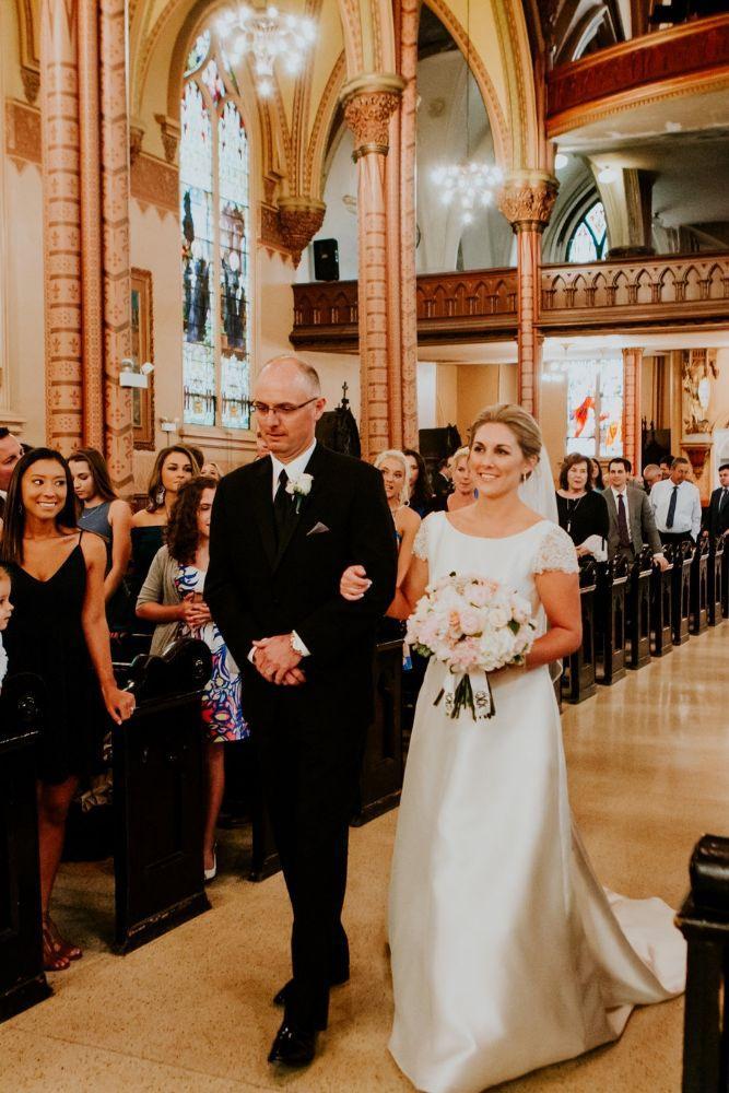 cassie ryan chicago wedding chicago marriott southwest at burr ridge father walking daughter down aisle