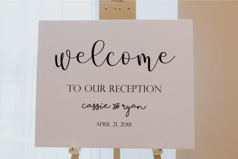 cassie ryan chicago wedding chicago marriott southwest at burr ridge reception welcome sign