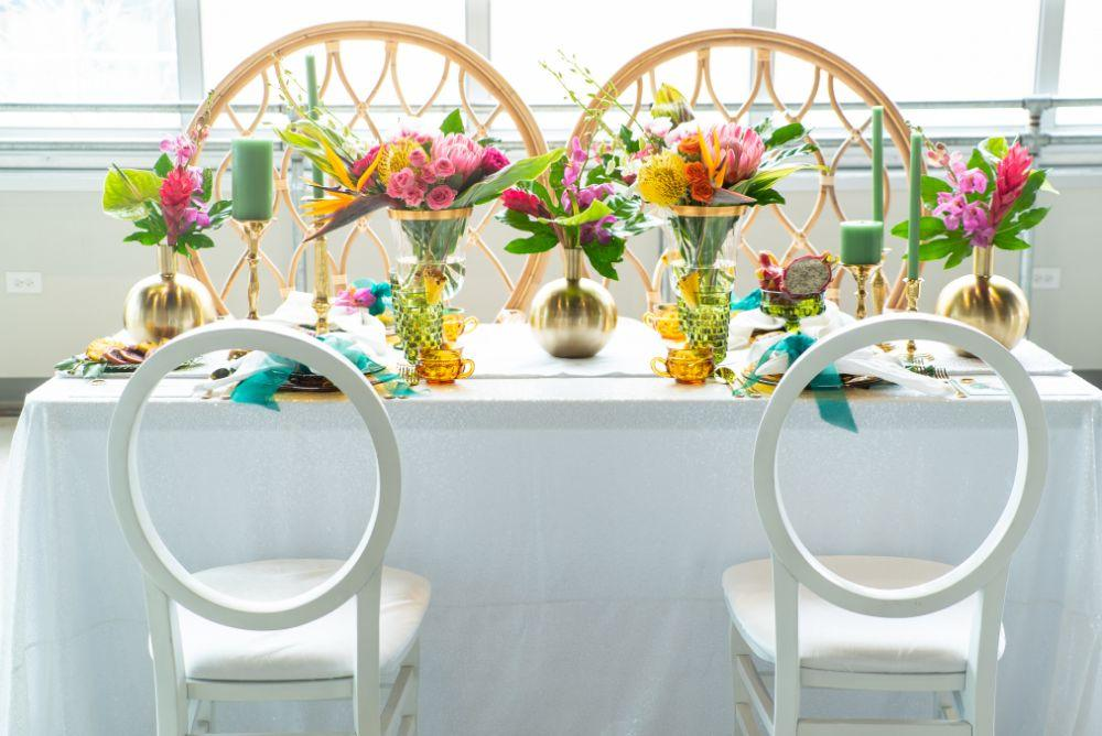 vibrant tropical paradise wedding inspiration at gallery 1500 reception table