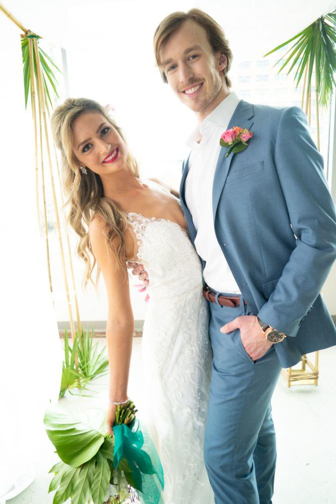 vibrant tropical paradise wedding inspiration at gallery 1500 bride and groom