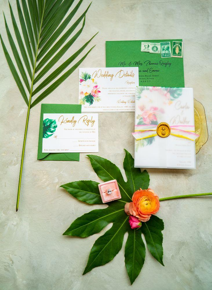 vibrant tropical paradise wedding inspiration at gallery 1500 wedding stationery
