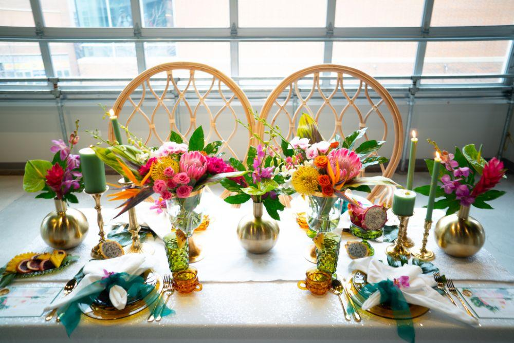 vibrant tropical paradise wedding inspiration at gallery 1500 sweetheart table