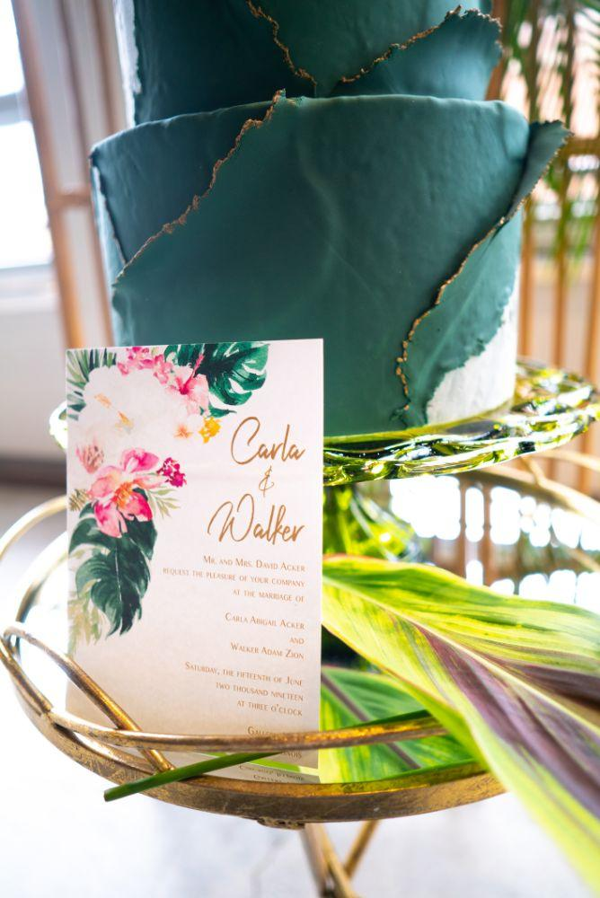 vibrant tropical paradise wedding inspiration at gallery 1500 wedding cake