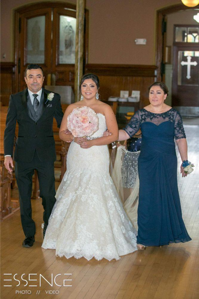 vanesa leonardo cotillion banquets chicagoland wedding parents walking daughter down aisle