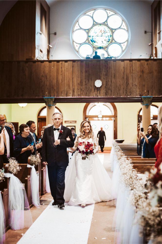 adrianna dean salvatore's chicago wedding father walking daughter down aisle