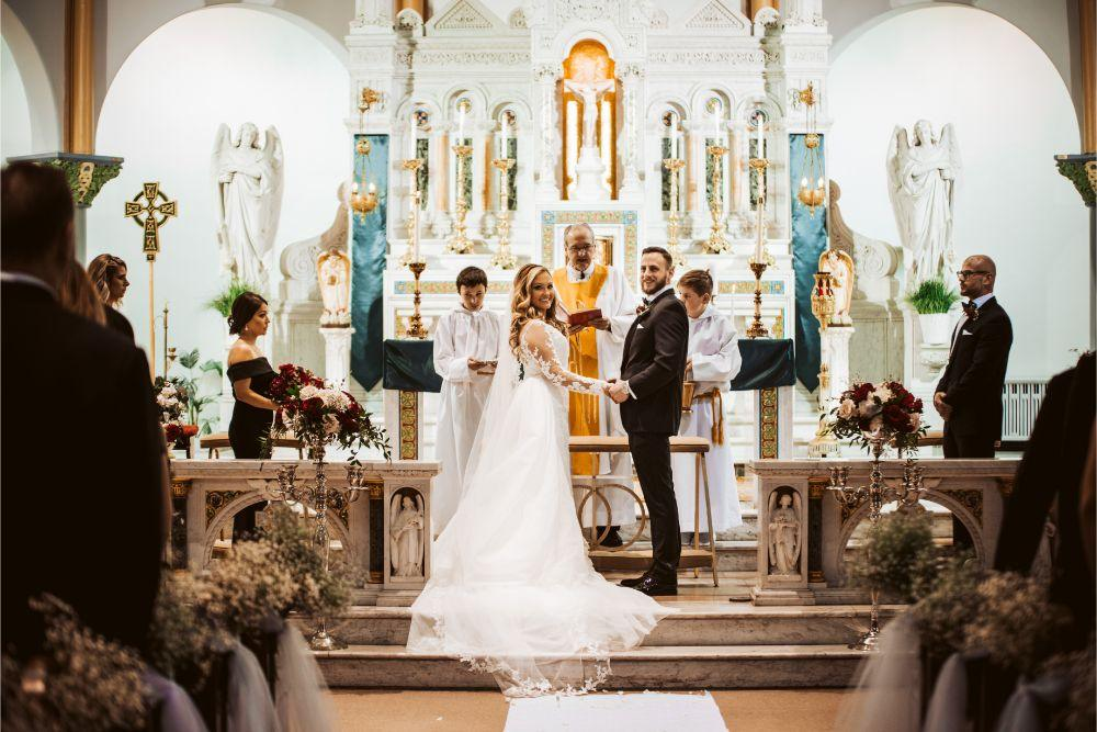 adrianna dean salvatore's chicago wedding church ceremony