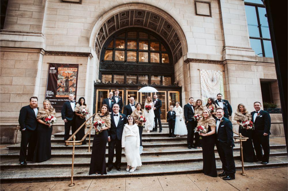 adrianna dean salvatore's chicago wedding wedding party on stairs