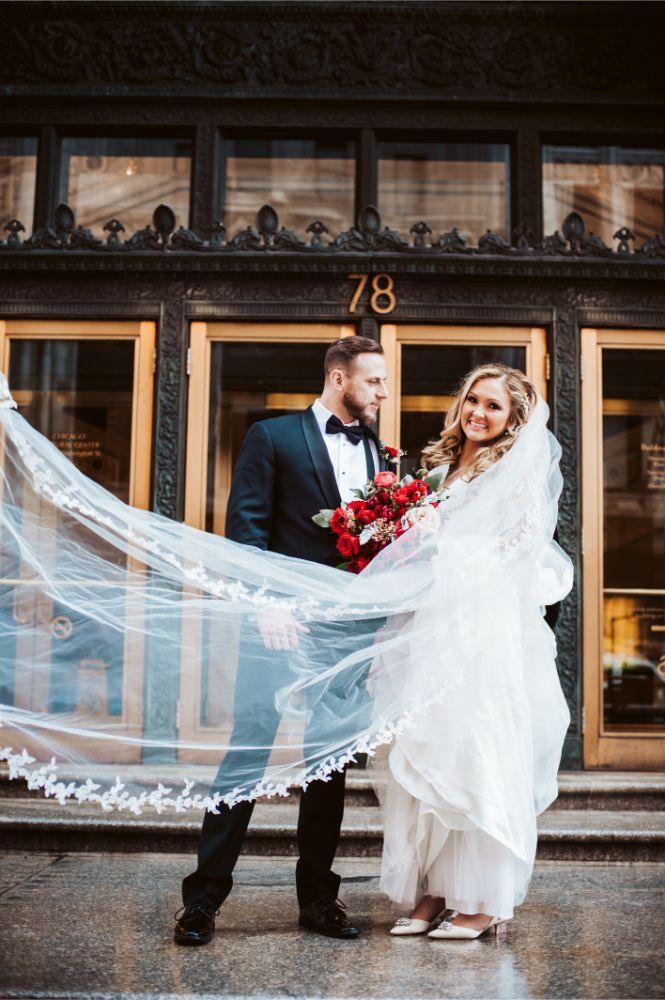 adrianna dean salvatore's chicago wedding bride and groom with blowing veil