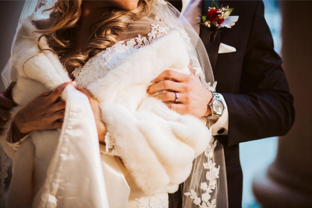 adrianna dean salvatore's chicago wedding bride and groom details fur cape