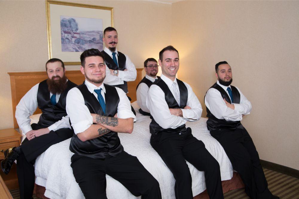becky zach venuti's ristorante & banquet hall chicago wedding groom and groomsmen