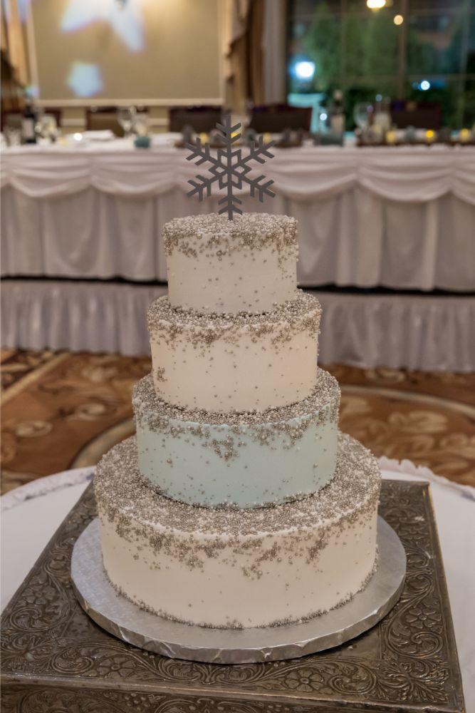 becky zach venuti's ristorante & banquet hall chicago wedding reception wedding cake