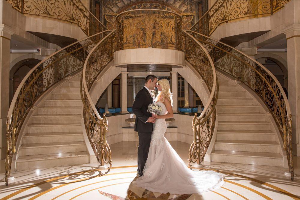becky zach venuti's ristorante & banquet hall chicago wedding grand staircase