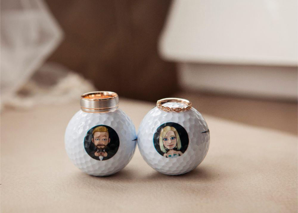 kolby j chicago wedding photography golf balls with wedding rings