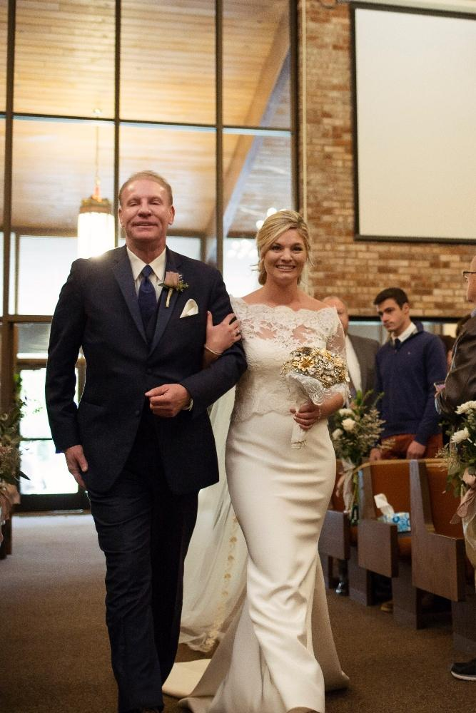 kolby j chicago wedding photography father walking daughter down aisle