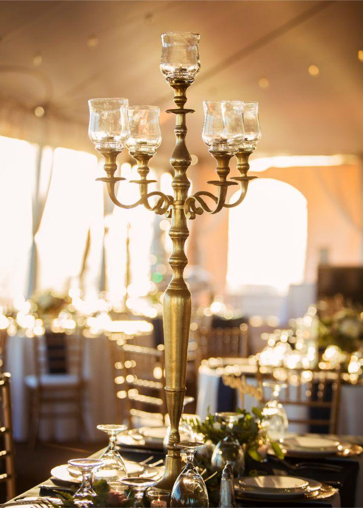 kolby j chicago wedding photography reception table centerpiece candelabra