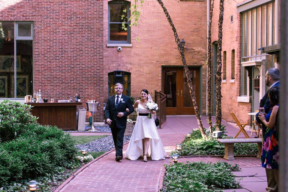 The Ivy Room at Tree Studios father walking daughter down aisle
