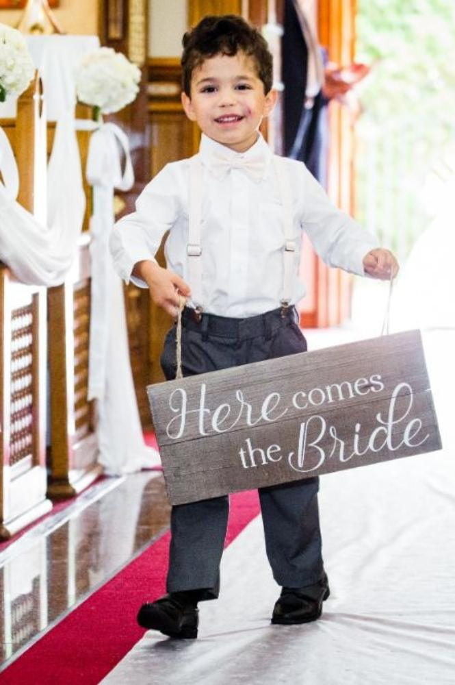 """michelle jimmy the congress plaza hotel chicago wedding ring bearer with """"here comes the bride"""" sign"""