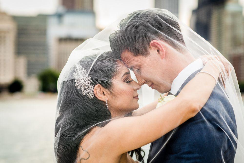 michelle jimmy the congress plaza hotel chicago wedding bride and groom with veil