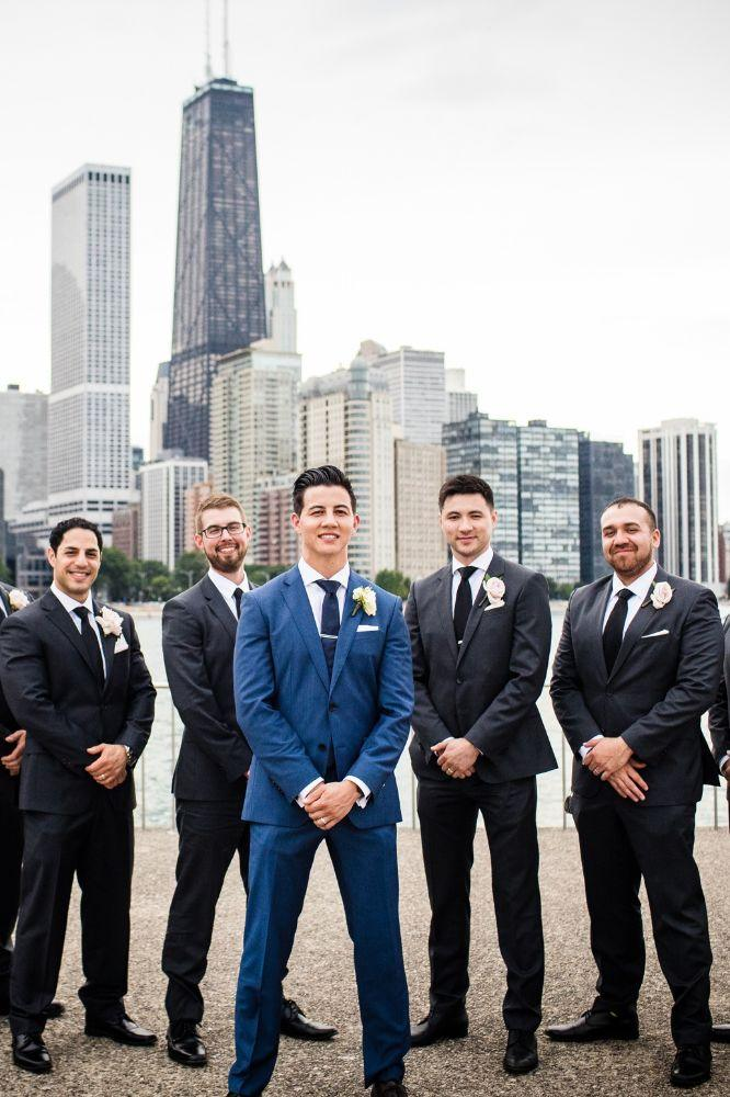 michelle jimmy the congress plaza hotel chicago wedding groom and groomsmen