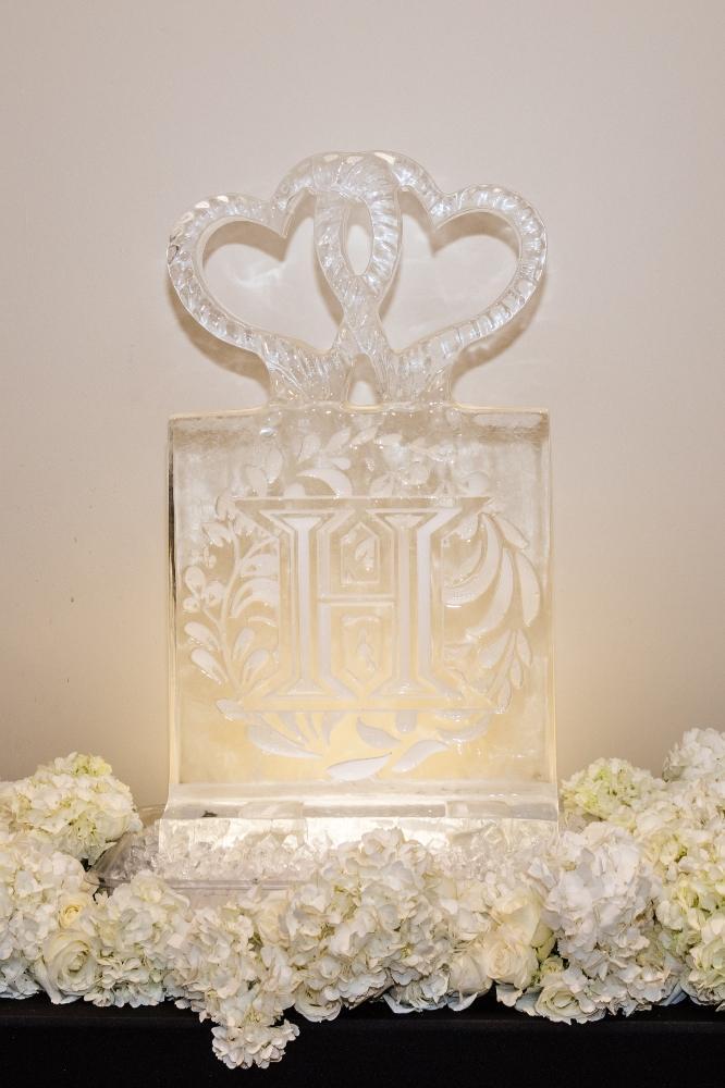 brittany matthew local love the ridge hotel chicago wedding ice sculpture