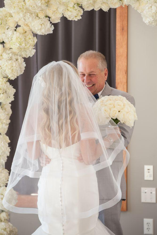 brittany matthew local love the ridge hotel chicago wedding first look with dad