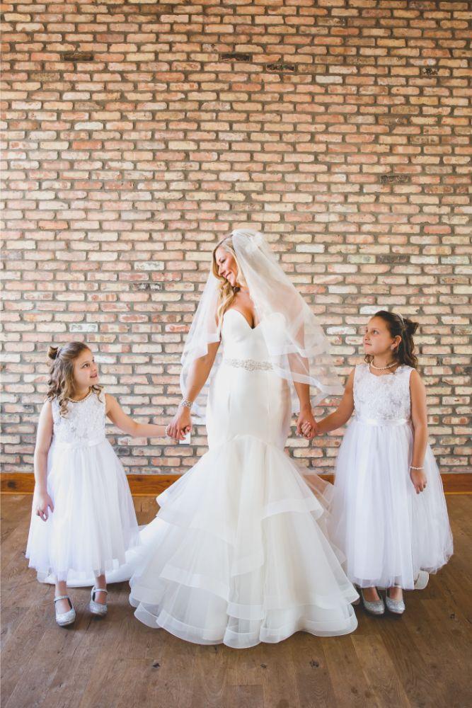 brittany matthew local love the ridge hotel chicago wedding bride with flowergirls