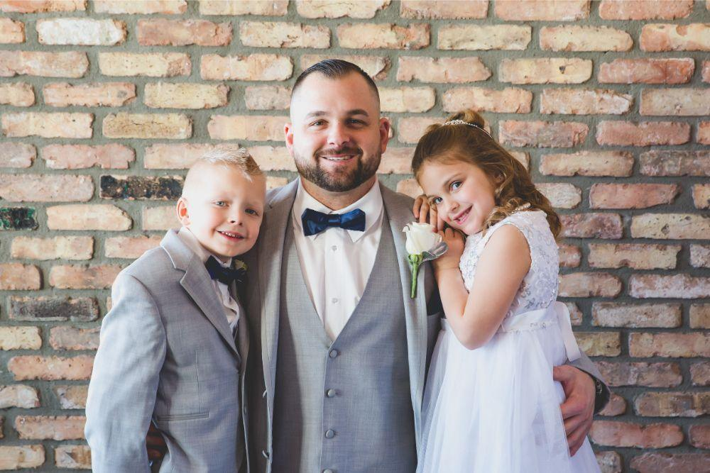 brittany matthew local love the ridge hotel chicago wedding groom with flowergirl and ringbearer