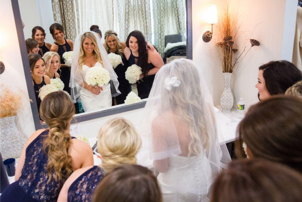 brittany matthew local love the ridge hotel chicago wedding bride getting ready with bridesmaids